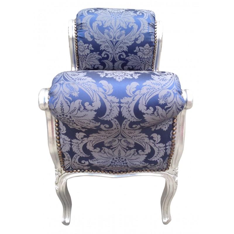 Banquette baroque de style louis xv tissu satin bleu aux motifs gobeli - Banquette style baroque ...
