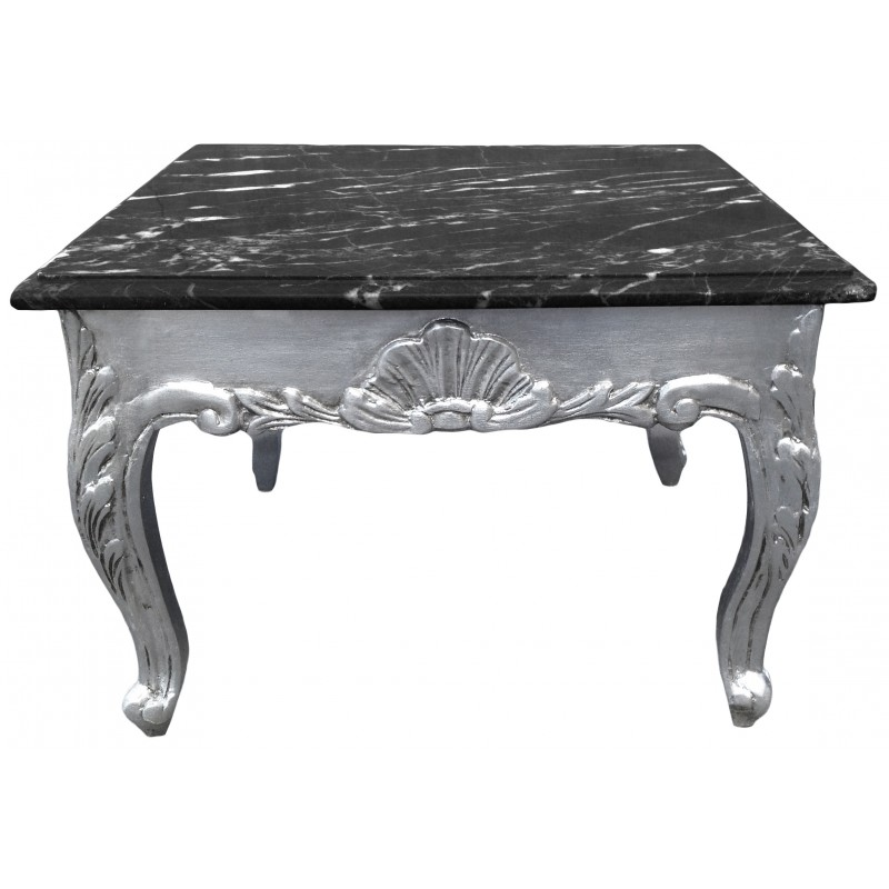 Square Coffee Table Baroque Style Wood Silvered With Leaf And Black Marble Top