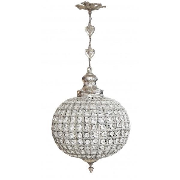 Lustre boule pampilles verre transparente avec bronzes for Lustre boule noir