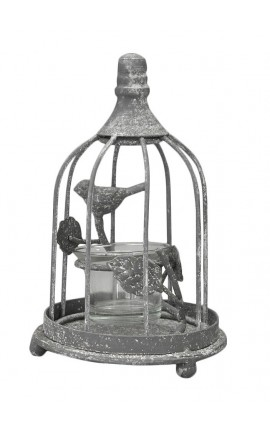 Metal and glass candle holder with bird cage, grey
