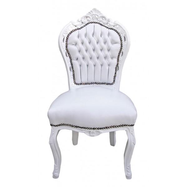 Chaise de style baroque rococo tissu simili cuir blanc et bois laqu blanc - Location chaise belgique ...