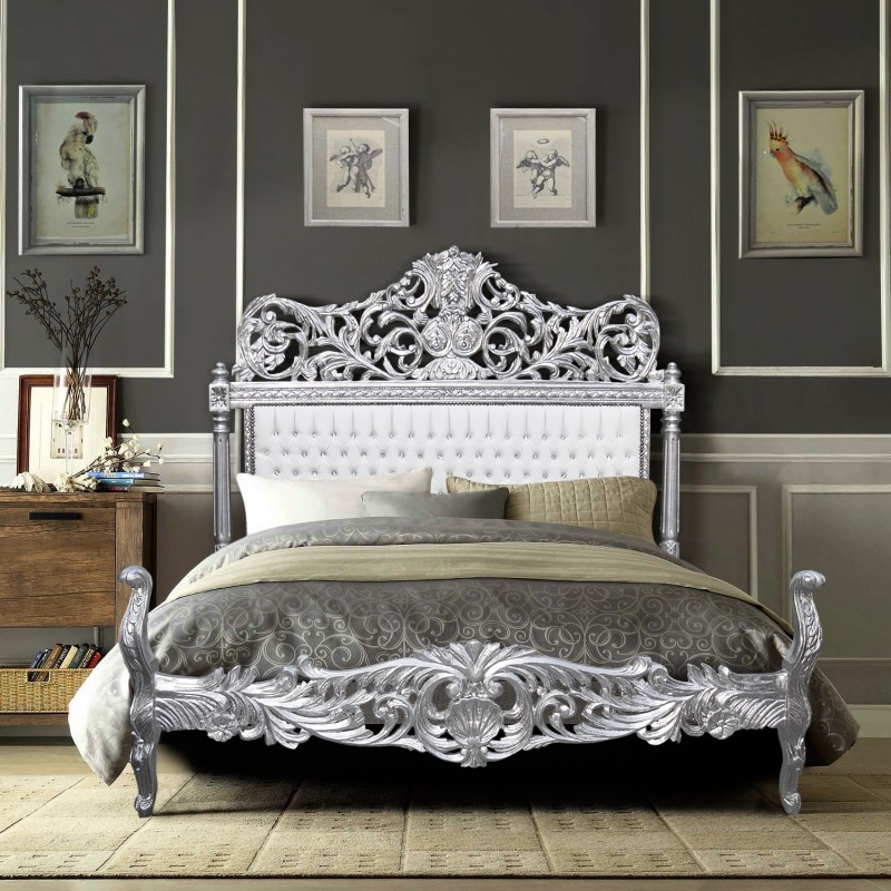 Baroque Bed Fabric Faux Leather White With Rhinestones And