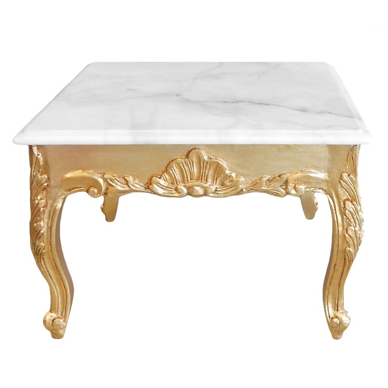 Square Coffee Table Baroque Style Gold Wood With Leaf And