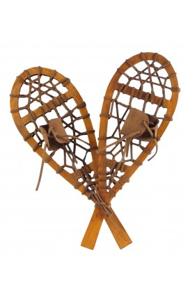 Snowshoe hiking mountain decorative old style