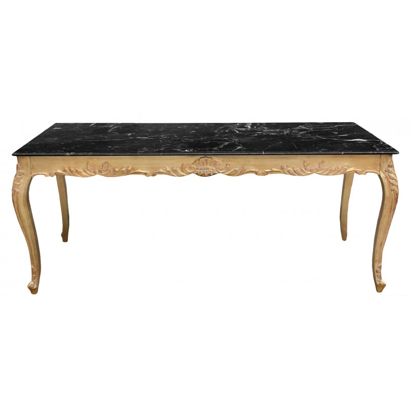 Large dining table baroque wood gold leaf structure and for Large dark wood dining table