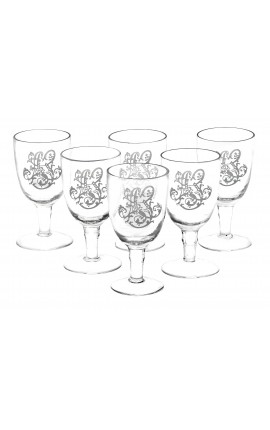 Set of 6 glass wine glasses silkscreened