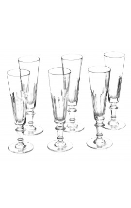 Set of 6 champagne flutes transparent crystal