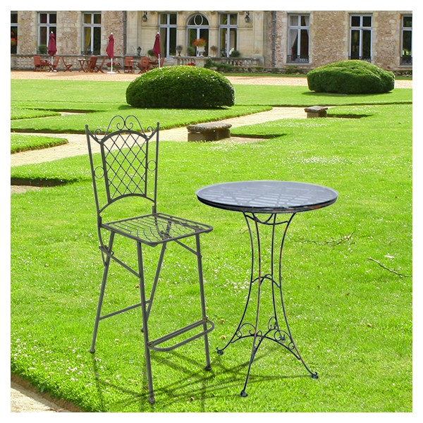 Chaise de bar en fer forg collection vert de gris for Chaise de bar en fer forge