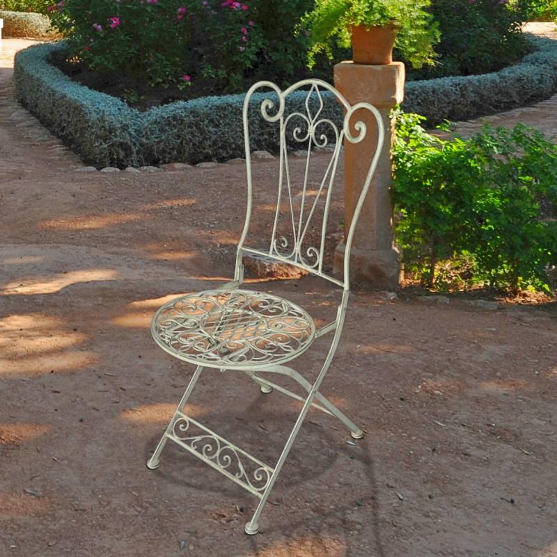 Folding Light Green Wrought Iron Chair
