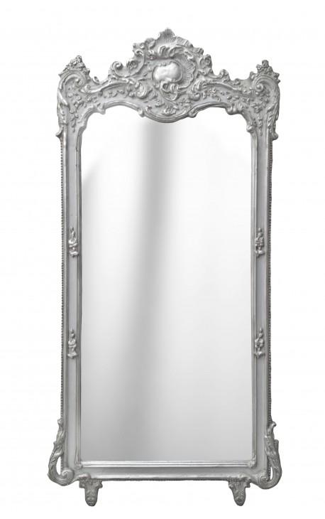 Grand baroque silvered rectangular mirror for Rectangular baroque mirror
