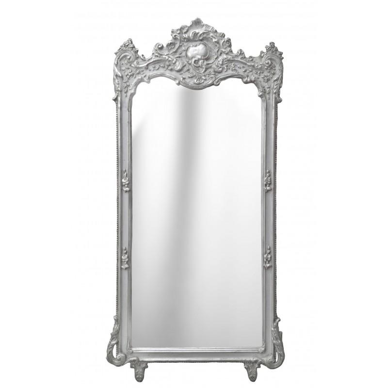 Grand miroir rectangulaire baroque argent for Grand miroir rectangulaire