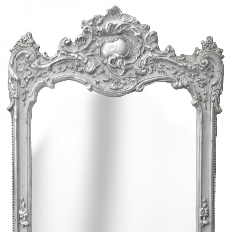 Grand miroir rectangulaire baroque argent for Grands miroirs