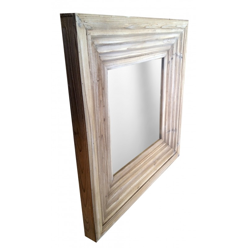 Square mirror in old weathered wood for Square mirror