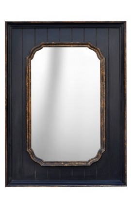 Black rectangular mirror with gold