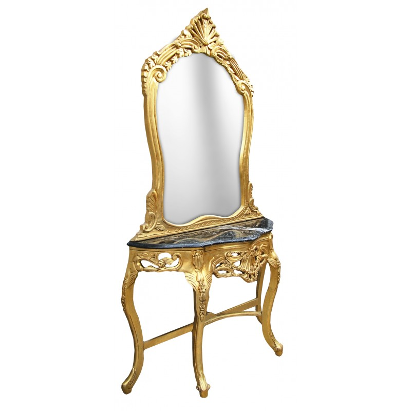 Console with mirror in gilded wood baroque and black marble for Gilded baroque mirror
