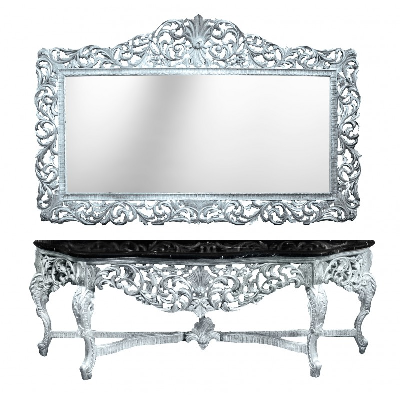 Console with mirror baroque style silvered wood and black for Miroir style baroque