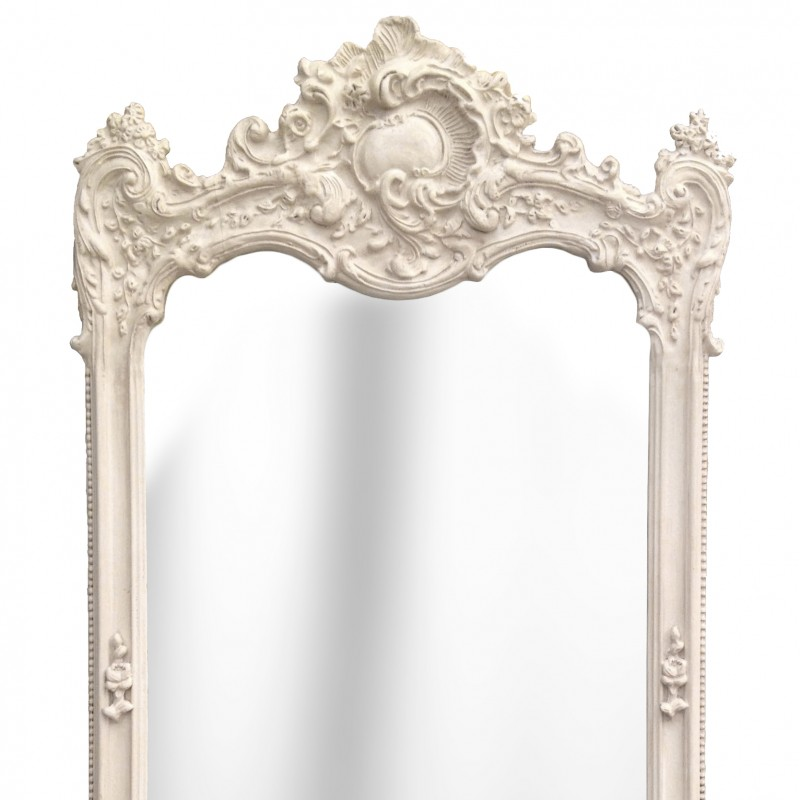 Grand miroir rectangulaire baroque beige patin for Miroir baroque rectangulaire