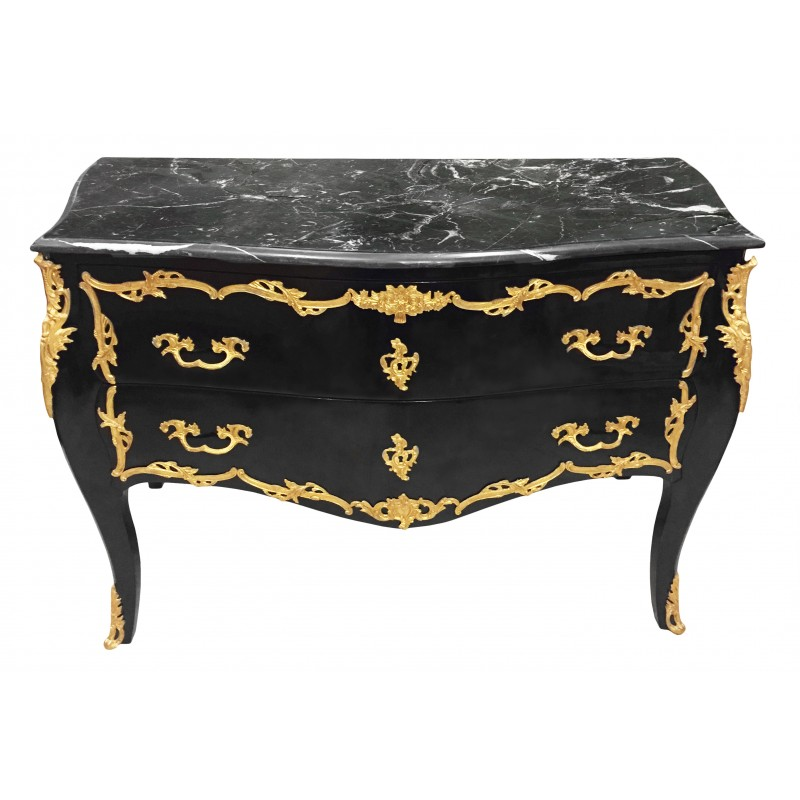 commode baroque de style louis xv noire bronzes dor s et marbre noir. Black Bedroom Furniture Sets. Home Design Ideas