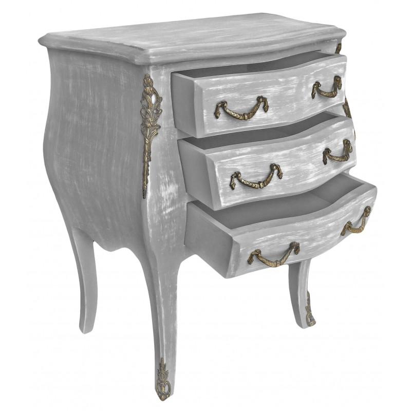 Pin table de nuit chevet commode baroque en bois dor avec for Table de chevet argente