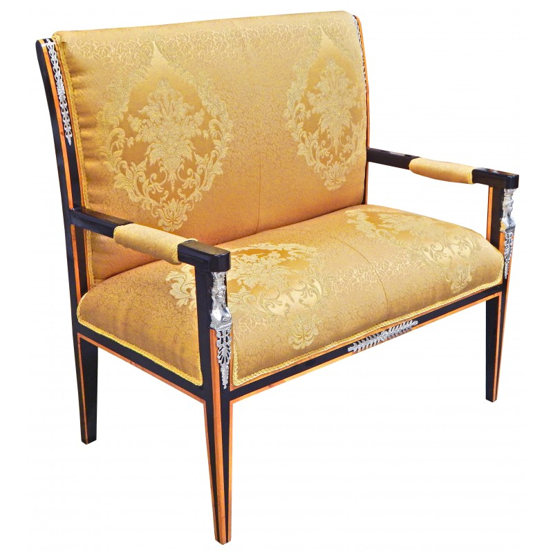 Empire Style Sofa Golden Satin Fabric And Black Lacquered