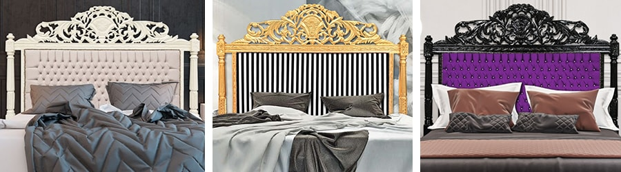 voici notre s lection de t tes de lits baroque enti rement sculpt s la main par nos artisans. Black Bedroom Furniture Sets. Home Design Ideas