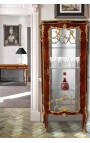 Louis XV style display cabinet with marquetry and gilded bronze