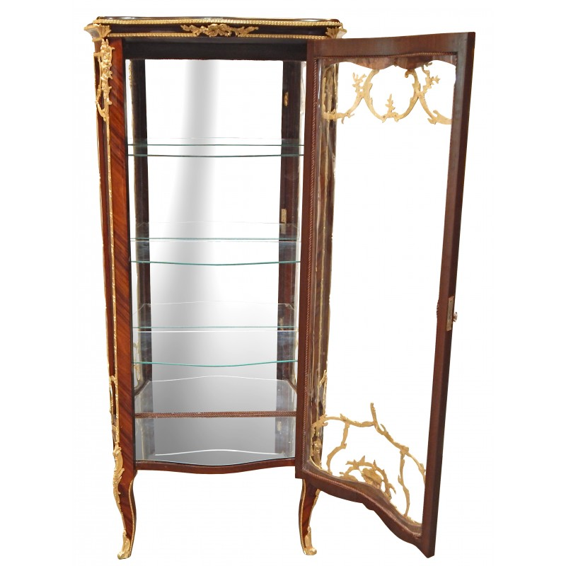 Louis Xv Style Display Cabinet With Marquetry And Gilded