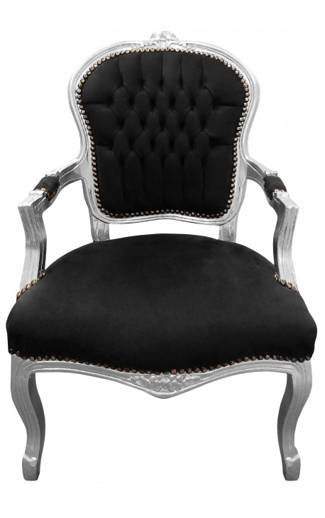 Baroque armchair of style Louis XV black velvet and silvered wood
