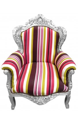 Grand fauteuil de style baroque rayé multicolore et bois argenté