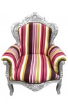Big baroque style armchair multicolor striped and silver wood