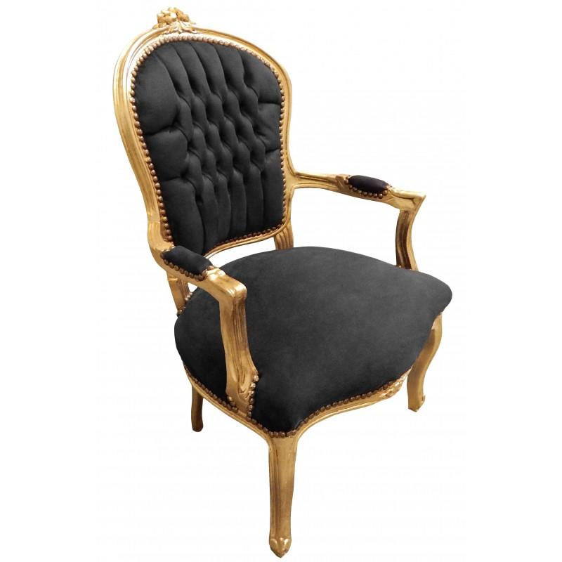fauteuil baroque de style louis xv tissu velours noir et. Black Bedroom Furniture Sets. Home Design Ideas