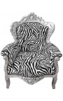 Big baroque style armchair zebra fabric and silver wood