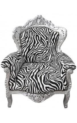 Grand fauteuil de style Baroque tissu zèbre et bois argenté
