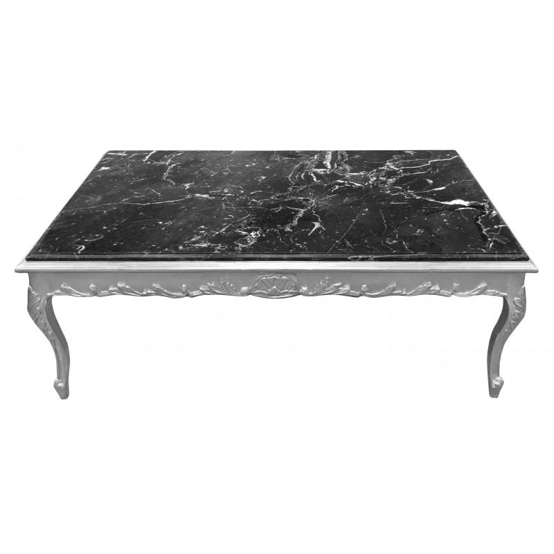 Grande table basse de style baroque bois argent et marbre - Grande table basse bois ...