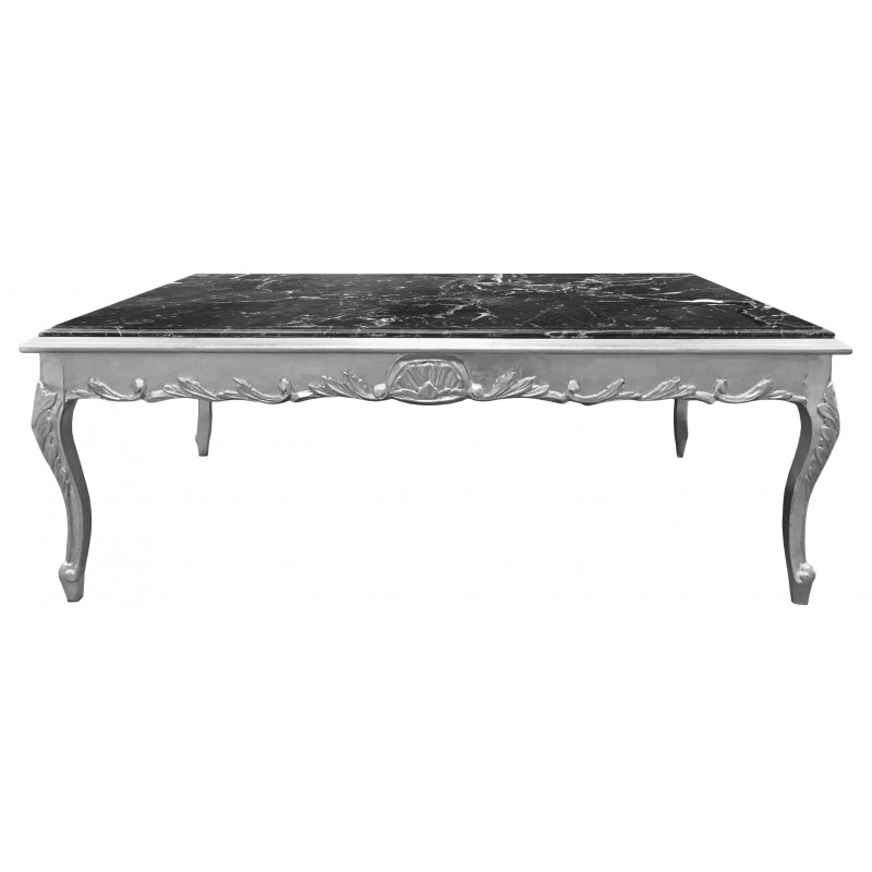 grande table basse de style baroque bois argent et marbre noir. Black Bedroom Furniture Sets. Home Design Ideas