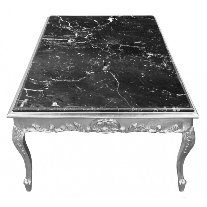 grande table basse de style baroque bois argent et marbre. Black Bedroom Furniture Sets. Home Design Ideas