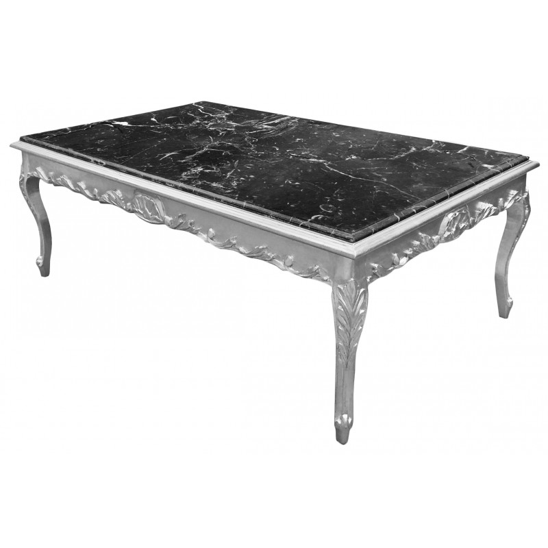 Table basse noir baroque for Grande table basse bois