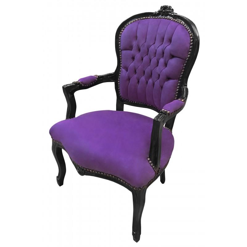 fauteuil baroque de style louis xv velours mauve et bois noir. Black Bedroom Furniture Sets. Home Design Ideas