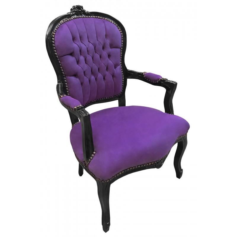 Baroque armchair Louis XV purple velvet fabric and black wood