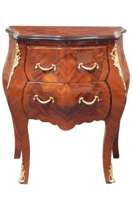 Marquetry bedside chest of drawers 2 drawers with gilded bronzes