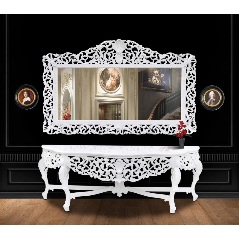 enorme miroir de style baroque en bois laqu blanc. Black Bedroom Furniture Sets. Home Design Ideas
