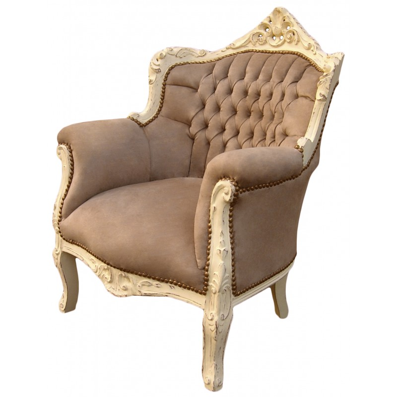 Armchair princely baroque style taupe velvet and beige wood - Beige slaapkamer taupe ...