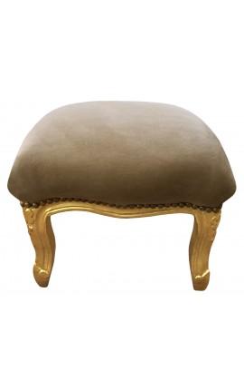 Repose-pied baroque de style Louis XV taupe et bois doré