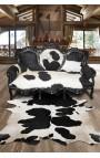 Барокко диван коровьей черно-белый, черный блеск древесины