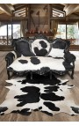 Baroque sofa real cowhide black and white, black wood