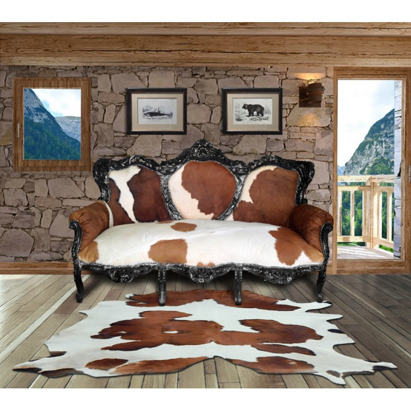 tapis en vrai peau de vache marron et blanc. Black Bedroom Furniture Sets. Home Design Ideas