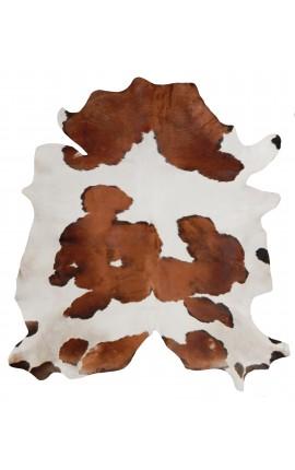 Tapis en vrai peau de vache marron et blanc