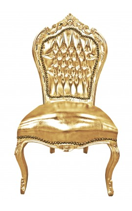 Baroque rococo style chair gold leatherette and gold wood