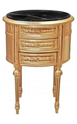 Table de nuit (chevet) tambour ovale en bois doré avec 3 tiroirs et marbre noir