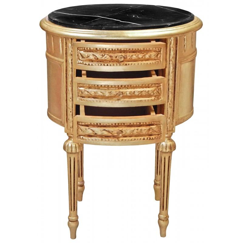 table de nuit chevet tambour ovale en bois dor avec 3 tiroirs et marbre noir. Black Bedroom Furniture Sets. Home Design Ideas